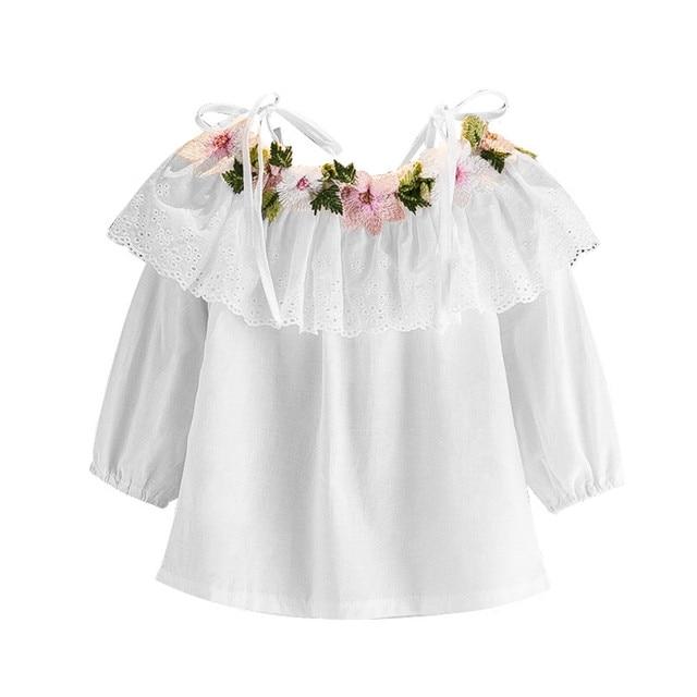 0b110e2a5 € 7.31 9% de DESCUENTO|Camisa de encaje para niña, ropa sin hombros, Camisa  de algodón para niñas, de manga larga, de otoño, blanca, de manga ...