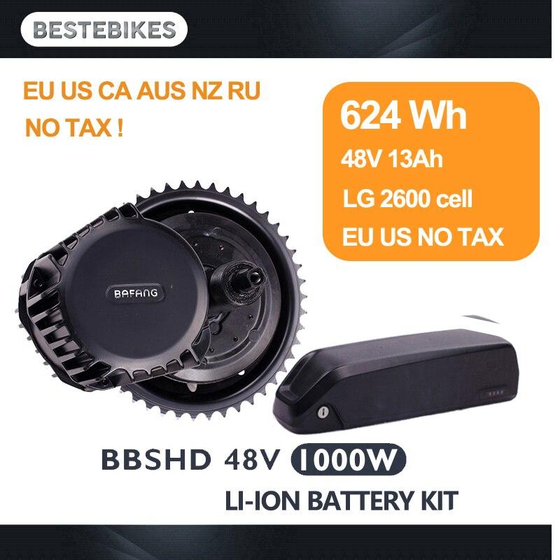 BBSHD 48V1000W BBS03 bafang 1000w motor kit bicicleta electrica con bateria e bike 624WH/48v13ah LG2600 44T/46T EU US NO Tax цена