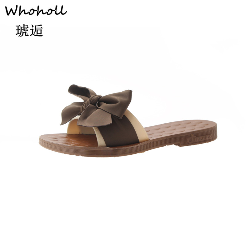 Whoholl Brand Slippers Women Torridity Bow Torridity Sandals Slipper Indoor Outdoor -flops Beach Shoes Female Fashion Shoes 2019