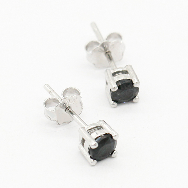 925 Silver Black Zircon Plated Round Shaped Push Back Stud Earrings
