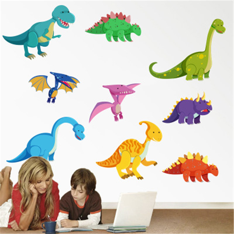 Children Classic Toys Cute Baby Cartoon Dinosaur Series Stickers Newborn 32*60cm Living Room Bedroom Toddlers Decor Wall Sticker