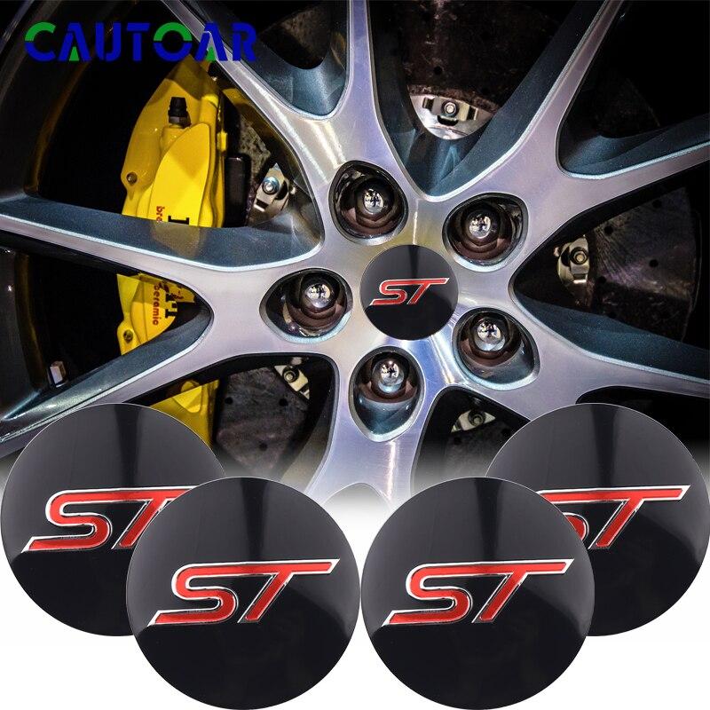 4pcs 56mm ST Logo Stickers Auto Car Wheel Center Hub Caps Sticker For Ford Focus 2 Focus 3 FIESTA Kuga FUSION ESCAPE EDGE