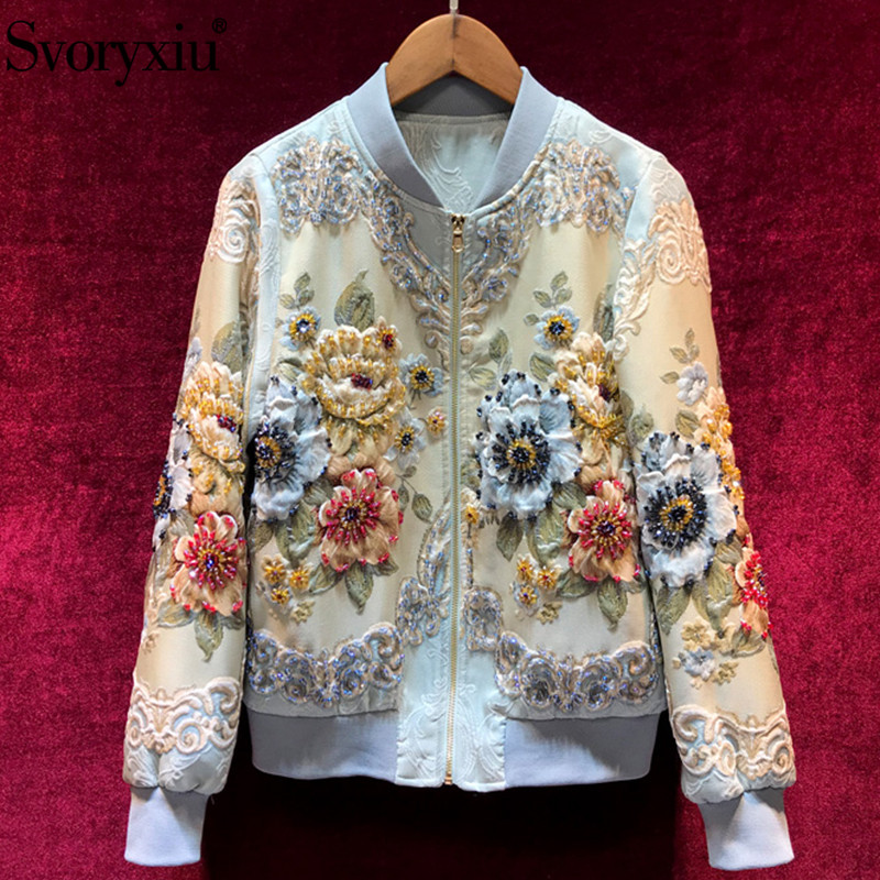 Svoryxiu Designer Custom Made Automne Hiver Outwear Vestes de Femmes Vintage Or Ligne Jacquard Perles de luxe Tops Manteau Vestes