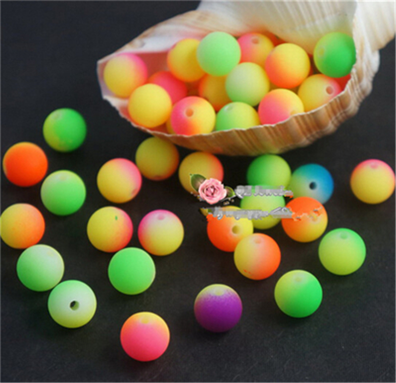 Popular Kids DIY Acrylic Crafts Beads Fluorescent Neon Beads Loom Bands Rainbow Candy Mix Colors 8-24mm Colorful Hot Sell Beads