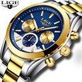 Relojes Hombre 2018 nuevo LIGE para Hombre, Relojes de moda de lujo de marca, reloj de cuarzo para hombres, reloj deportivo de acero resistente al agua