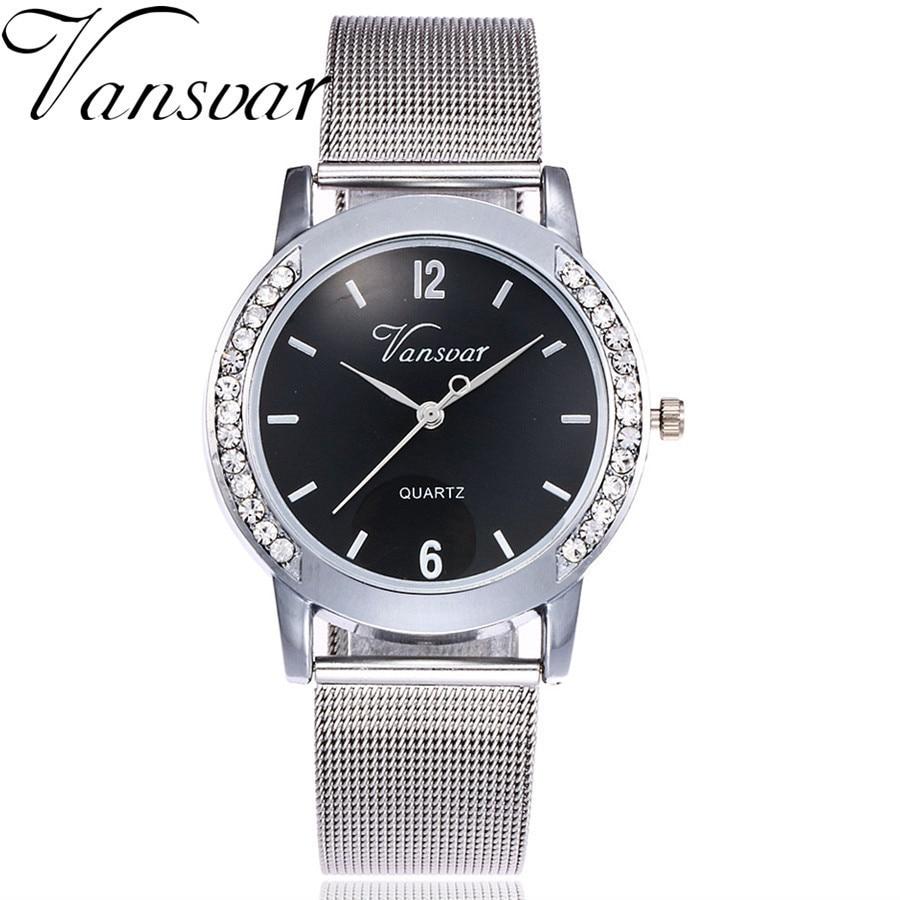 Vansvar Brand Fashion Gold Silver Mesh Band Quartz Watch Casual Women