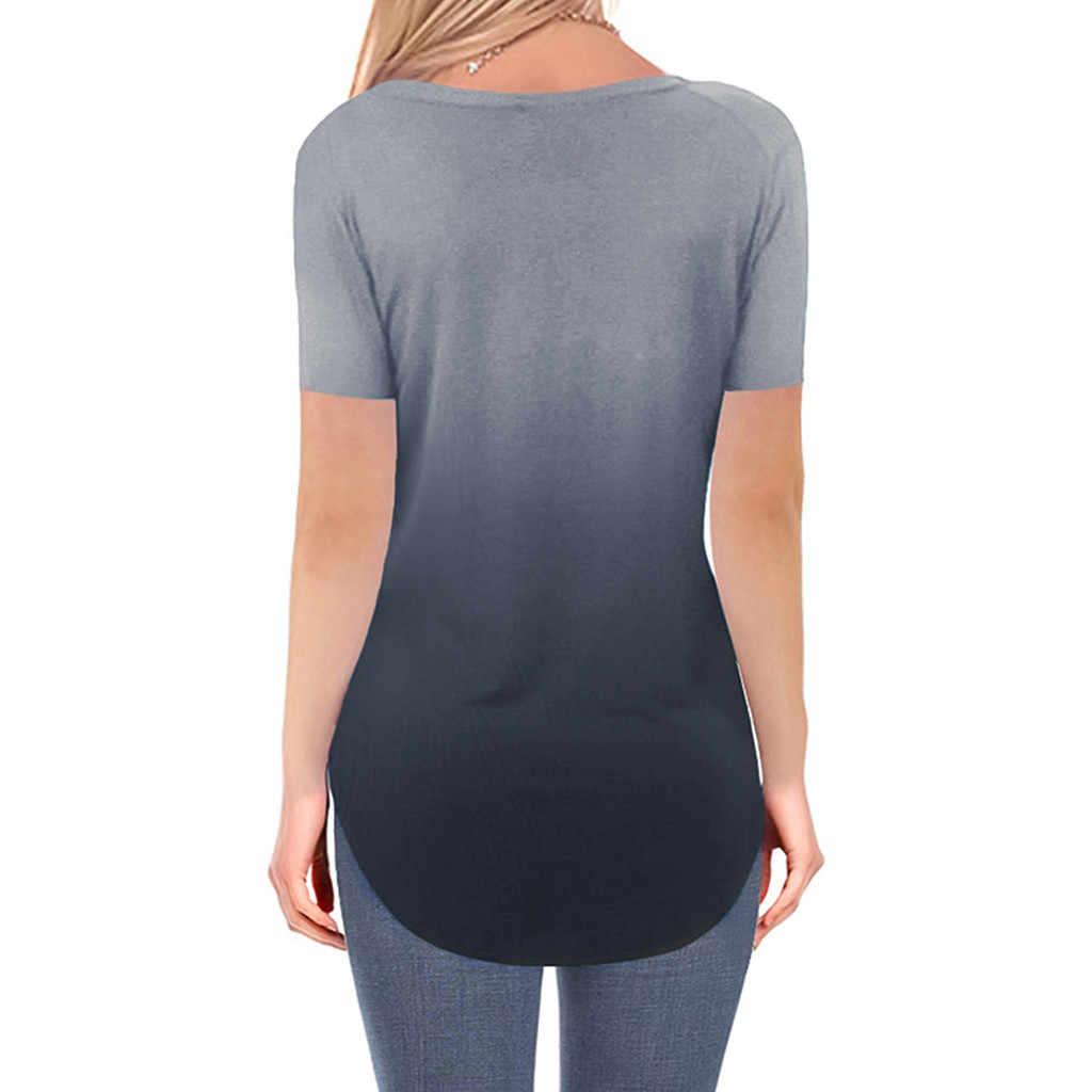 Womens Plus-Size Mode Sommer 2019 T Hemd V-ausschnitt Gradienten Farbe Streetwear Casual T-shirt Lose t shirt femme