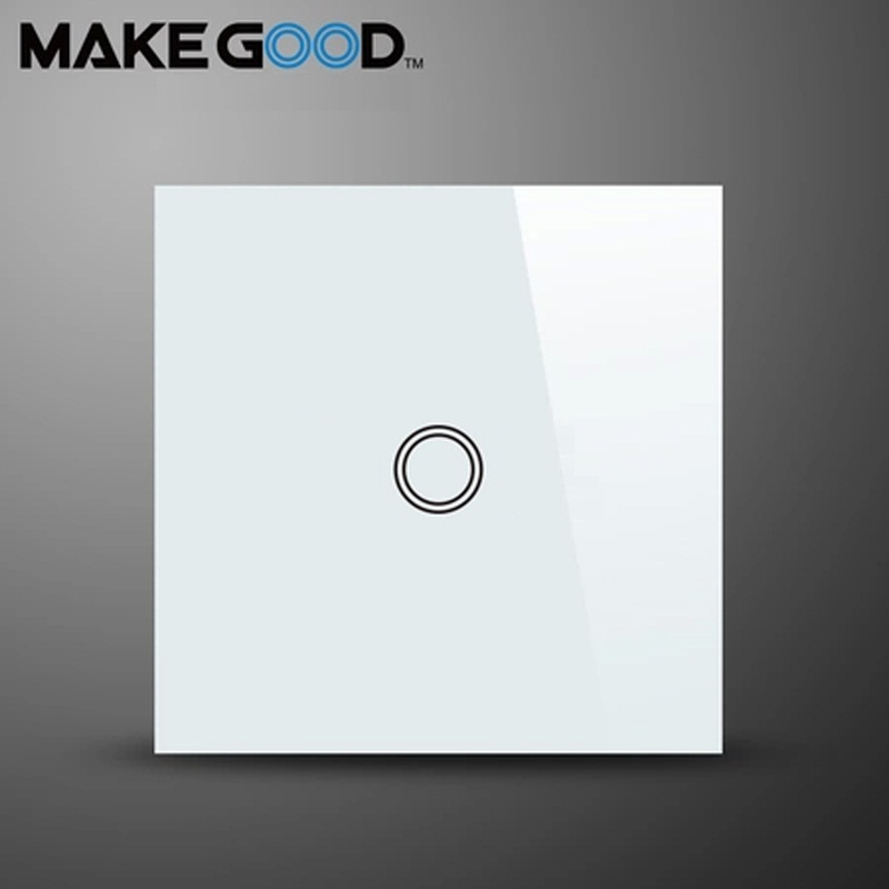 MakeGood EU Standard Touch Switch 1 Gang 1 Way Crystal Glass Panel ,Wall Switch AC 110-250V/1000W for Light eu sandard wall switch 1 gang 1 way toughened crystal glass panel touch switch 110 250v touch screen wall light switch