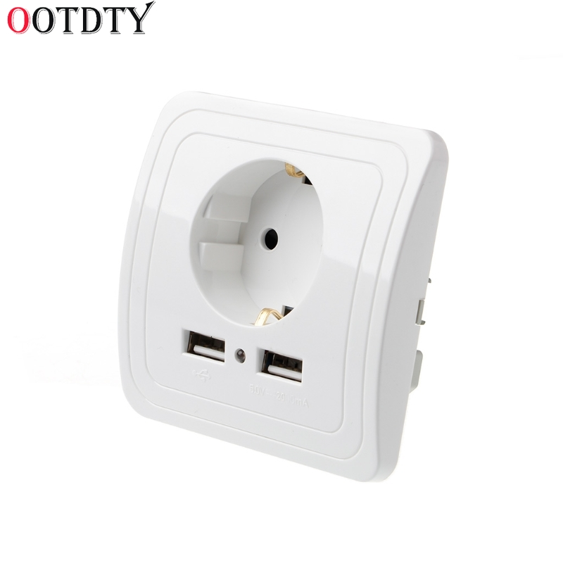OOTDTY Dual USB Port 5V 2A Electric Wall Charger Adapter EU Plug Socket Switch Power Charging Outlet цены