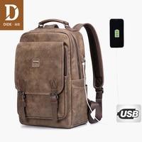 DIDE Leather laptop backpack men Mochila Vintage Casual Travel backpack Bag Preppy Schoolbag waterproof 15 inch