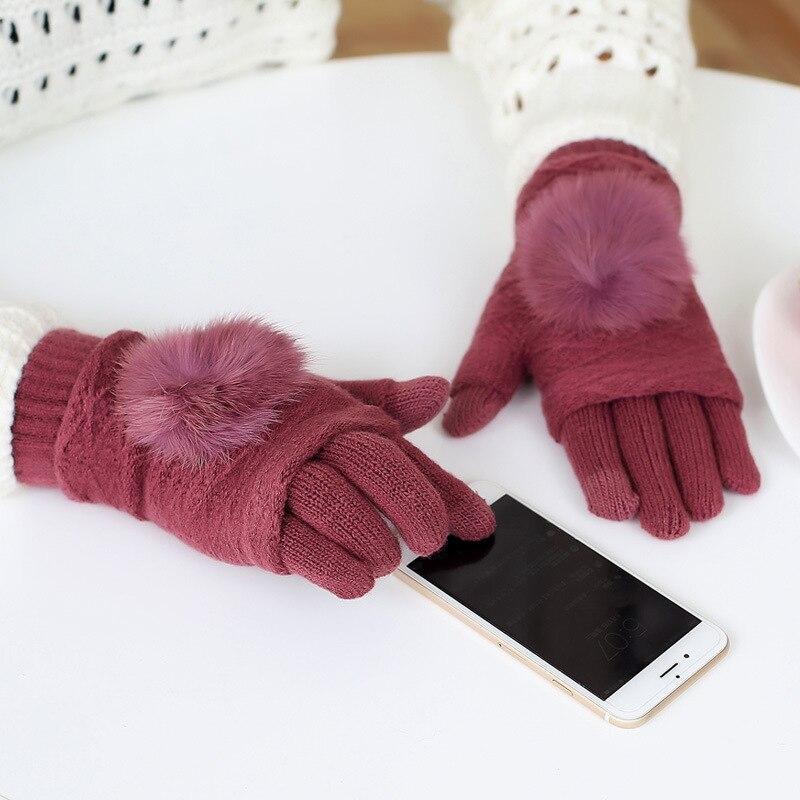 Touch Screen Gloves Women Winter Warm Acrylic Double layer Separable Fingerless Gloves Rabbit Fur Pom Poms Mittens Gants Femme plus size women in leather