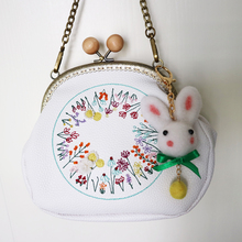 Фотография 2017 New Arrival Preppy Mori Style Diamonds Bow Frame PU Chain Embroidery Handmade Rabbit Wool Felt Women Messenger Shoulder Bag