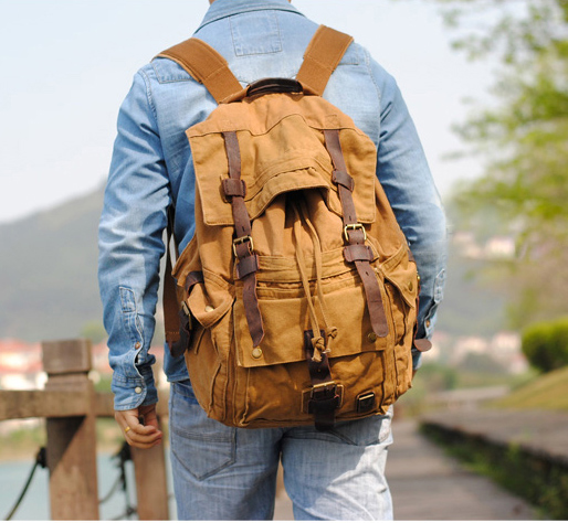 2019 men large canvas backpack vintage casual travel bags school backpacks FREE SHIPPING male fashion bag