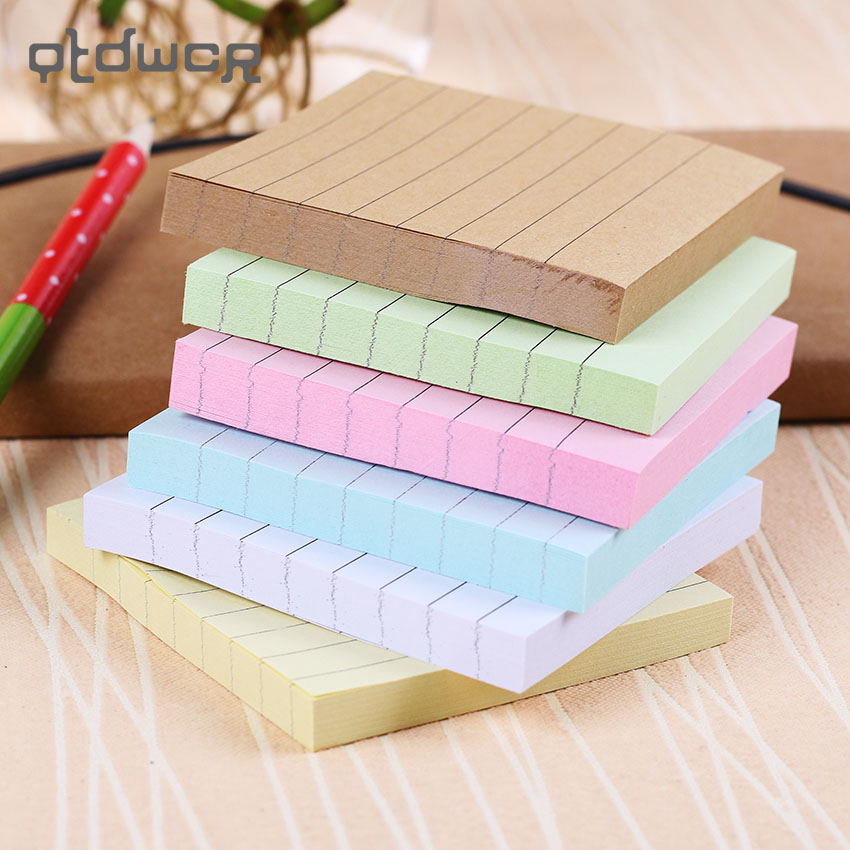 Office Stationery Sticky Notes Square Soild Color Memo Pad 80 Pages Sticker Bookmark Point It Marker Memo Sticker Paper in Memo Pads from Office School Supplies