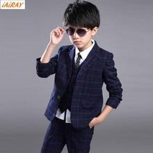 iAiRAY Brand 4 pcs boy clothing set boys suits for weddings vest kids suit boy formal suit boys blazer white shirt plaid pants