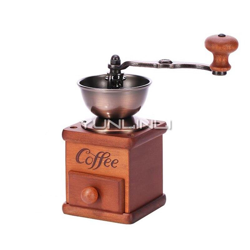 Manuel café grain broyeur ménage café Machine de meulage en caoutchouc bois café moulin 3503