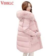 Новые зимние женские куртки на утином пуху больших размеров, съемный меховой воротник, модная женская зимняя куртка с капюшоном, L65
