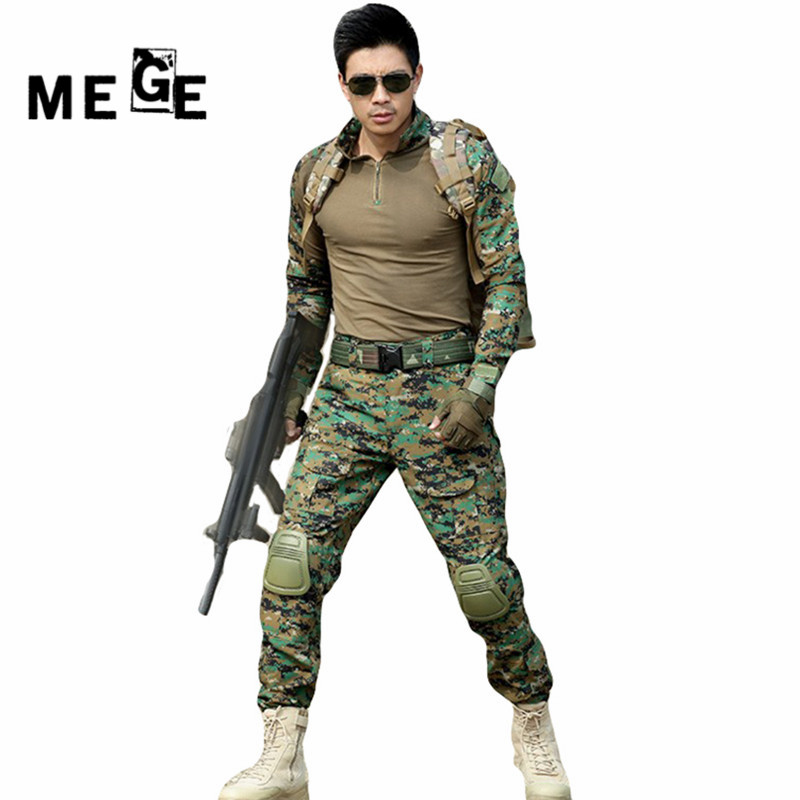 MEGE Tactical camouflage hunting military army airsoft paintball clothing combat assault uniform with elbow & knee pads sinairsoft military tactical pants paintball hunting army combat man trousers with knee pads airsoft outdoor cs hiking
