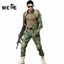 MEGE Tactical camouflage hunting military army airsoft paintball clothing combat assault uniform with elbow & knee pads