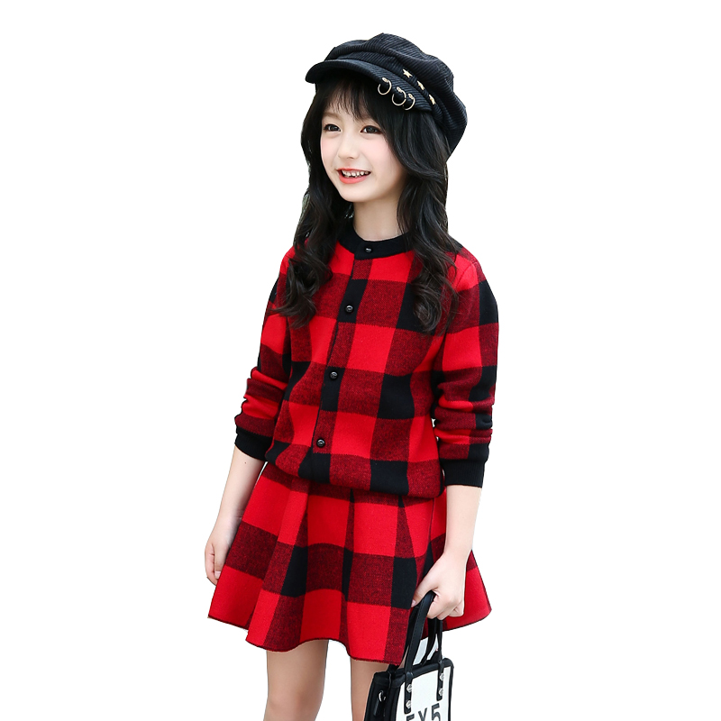 Kids Clothes Sets For Girls Plaid Sweaters & Skirts 2Pcs Autumn Winter Clothing Sets For Children Knitted Outfits Girls Cardigan