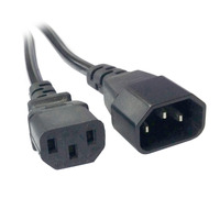10pcs/lot Cablecc 1.8m Male to Female PC Power Extension Cord Cable Wire IEC320 C13 to C14