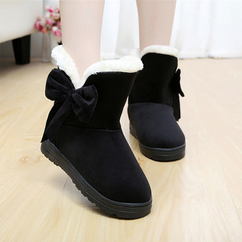 Cotton flat women snow boots shoes bow plush fur fashion winter ankle boots for women warm comfortable shoes female 2018 TVS905