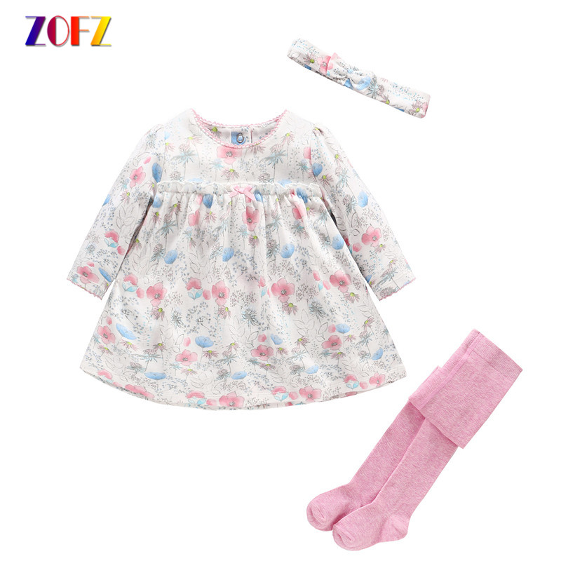 Cute Baby Girl Clothes Summer Long Sleeve Dress+Siamese socks+bowknot Girls Suits Kawaii Colorful Sets for Child 3 piece/set cute floral print bowknot design long sleeve dress for girl