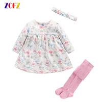 Cute Baby Girl Clothes Summer Long Sleeve Dress Siamese Socks Bowknot Girls Suits Kawaii Colorful Sets