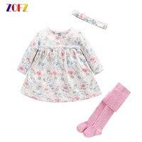 Cute Baby Girl Clothes Summer Long Sleeve Dress Siamese Socks Bowknot Girls Suits Kawaii Colorful Sets