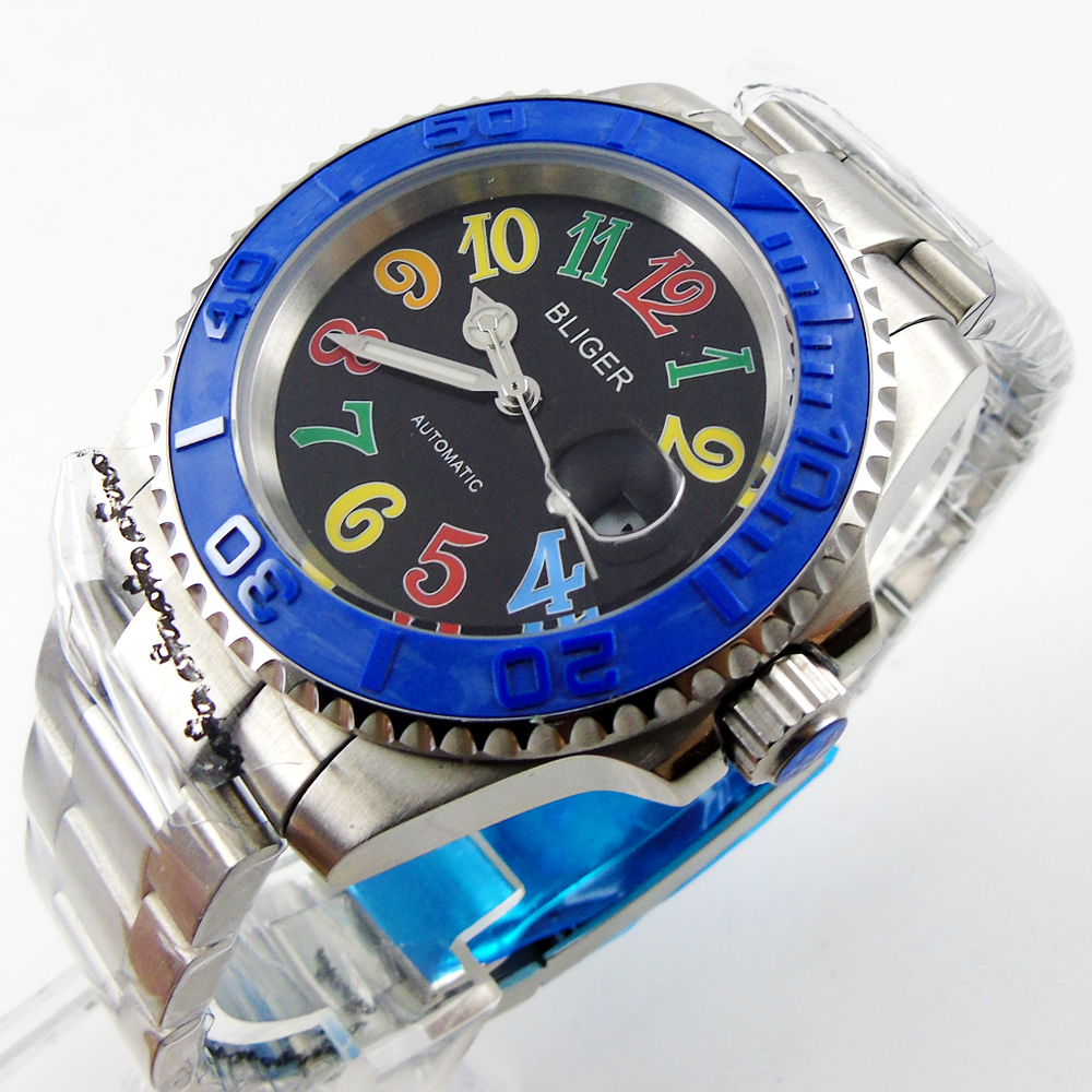Bliger 40mm black dial date colorful marks saphire glass blue Ceramic Bezel Automatic movement Men's watch bliger 40mm gray dial date blue ceramics bezel stainless steel case saphire glass automatic movement men s watch