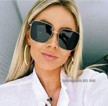 64c30514a99b2b 2018 NIEUWE vierkante frame vintage zonnebril Vrouwen Oversized Big Size  Zonnebril voor Mannen Vrouwelijke Shades Black UV400 Ey.