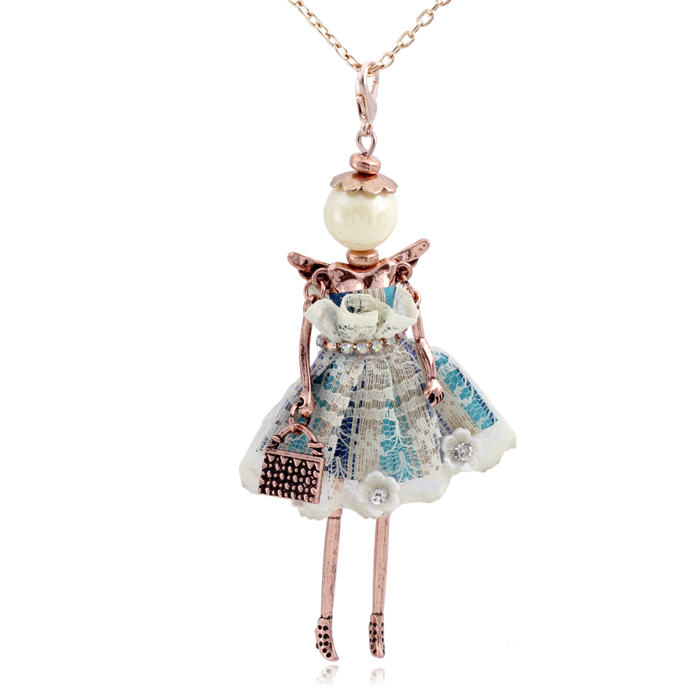 cute Lace flower doll necklacesl for women hot brand wings girls angel pendant long chain necklaces metal maxi jewelry fashion