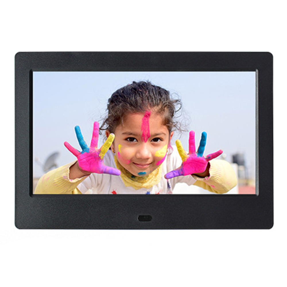 New 7 Inch Digital Photo Frame HD 800x480 LED Back-light Electronic Album Picture Music Video Display With Alarm Clock US Plug 2015 new 7 inch digital photo frame ultra thin hd photo album lcd advertising machine