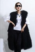 Full Length Black mongolian woo sheep lamb fur vest Gilet coat outwear Long Fur coats women womens 2017 wine beige blue coffee