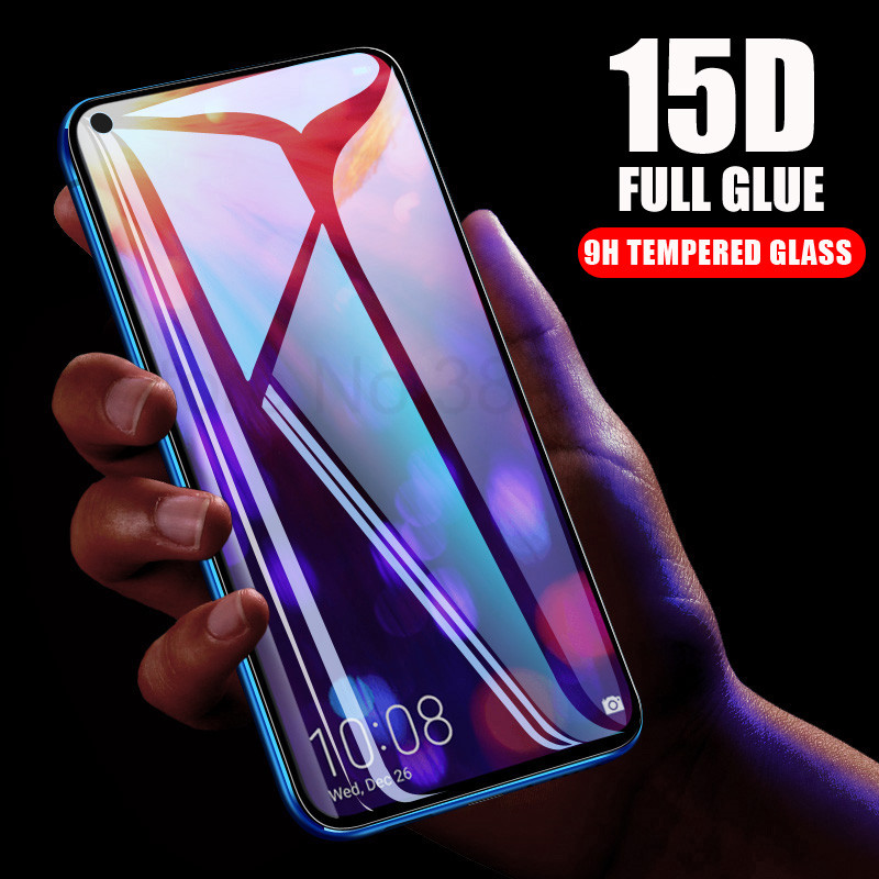 15D Full Glue Tempered Glass For Huawei Nova 4 Nova4 Screen Protector Film Cover On For Honor V20 View 20 Protective Glass Case