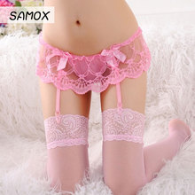 Sexy Stockings Lingerie Siamese Garter Lace Transparent Multicolor