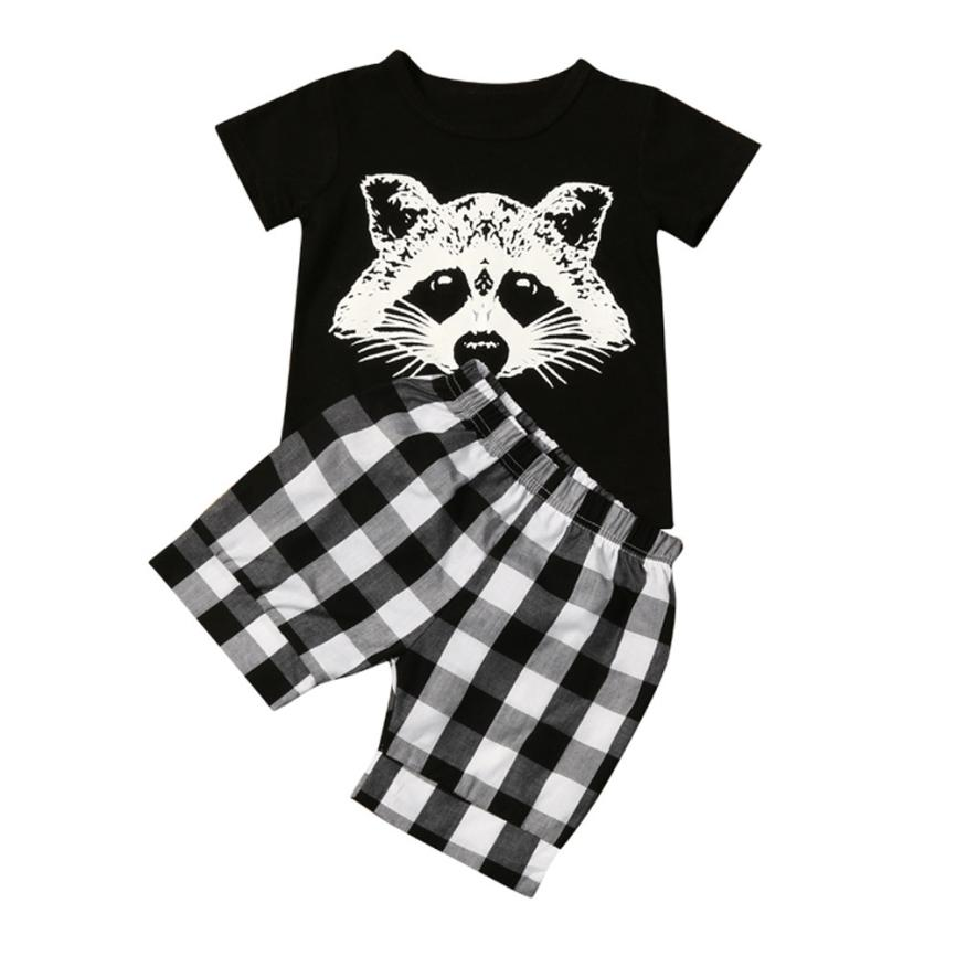 Summer Baby Boy Girls Clothing Set Toddler Baby Boy Fox Tshirt Tops Plaid Shorts Pants Outfits Clothes Casual Infant Cotton Suit 2pcs ruffles newborn baby clothes 2017 summer princess girls floral dress tops baby bloomers shorts bottom outfits sunsuit 0 24m