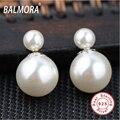 100% реального чистая стерлингового серебра 925 ювелирные изделия перлы двойника элегантный серьги стержня для женщин рождественский подарок звезда мешок Bijoux SY11403