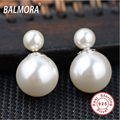 100% real pure 925 sterling silver jewelry double pearl elegant stud earrings for women christmas gift star bag Bijoux SY11403