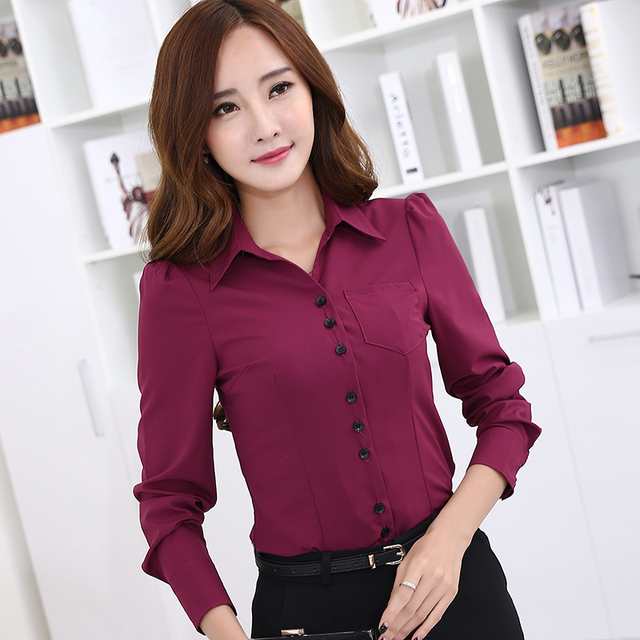 29f28a7da610 2016 New women s long-sleeve blouse Spring slim OL elegant work wear female  Formal office POLO shirt fashion tops clothes 3XL