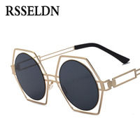 RSSELDN Fashion Vintage Round Sun Glasses For Men And Women 2017 Hollow Oversize Hexagon Sunglasses Women