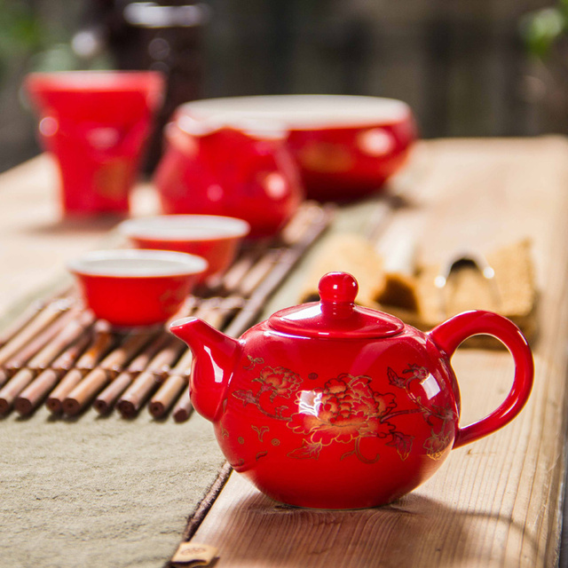 Ceramic Red Wedding Teapot Gifts Porcelain Chinese Kung Fu Tea Set Filter Luxury Gift For Best Friend D006