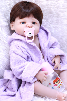 """Real baby doll reborn 22"""" 55cm full silicone reborn baby dolls children play house toy dolls with purple bathrobes bebes bonecas"""