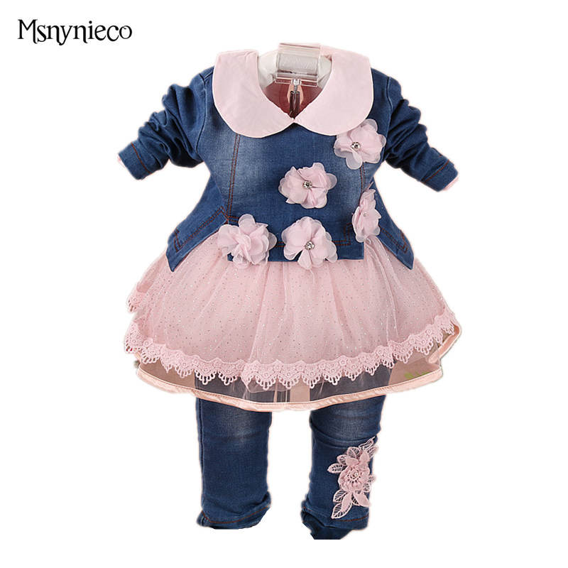 2018 Fashion Baby Girl Clothes Set Sping Autumn Girl Denim Jacket +t shirt+Pants 3pcs Kids Suits Infant Clothing Sets for 0-2Y fashion baby girl t shirt set cotton heart print shirt hole denim cropped trousers casual polka dot children clothing set