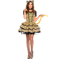 Léopard Chat Femme Robe Animal Sexy Sauvage Chat Fille Costume Cosplay Uniformes Halloween Costumes pour les Femmes 2017