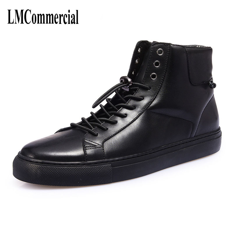 men casual shoes autumn winter high boots   British white leather sports shoes  breathable sneaker fashion boots the spring and summer men casual shoes men leather lace shoes soled breathable sneaker lightweight british black shoes men