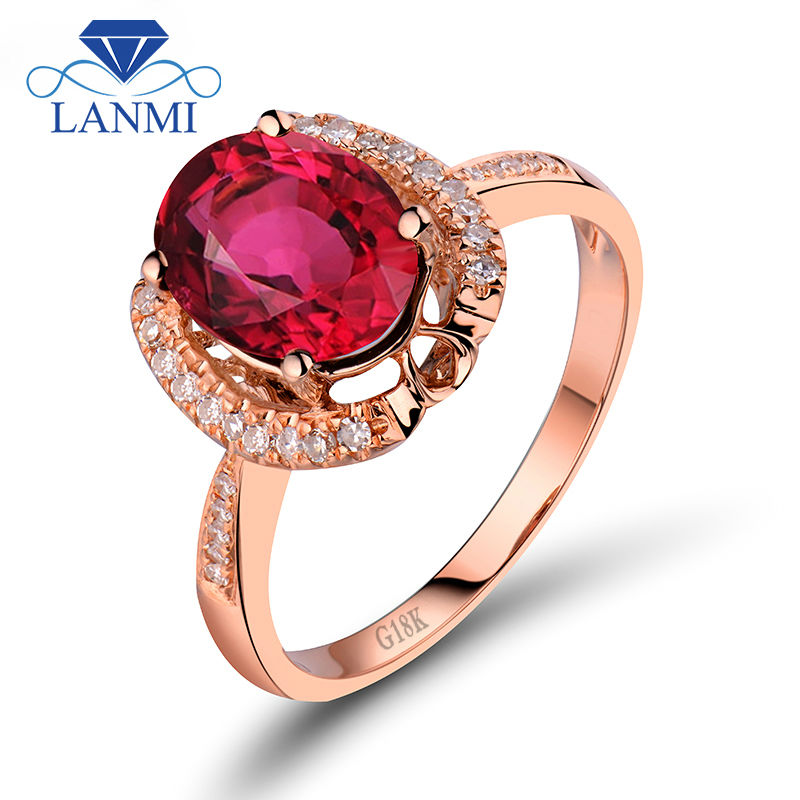 Fine Real Diamond Jewelry Solid 8K Gold Rose With Oval Cut 7x9mm Tourmaline Aniversary Ring R383