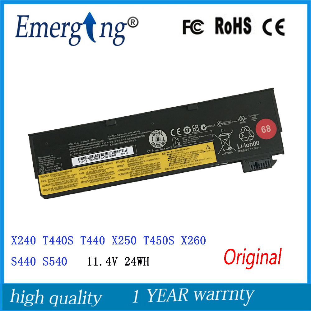 11.4V 24Wh 3cells New Original Laptop Battery for lenovo ThinkPad T440 T440S X240 X240S S440 S540 X250 45N1132 45N1124 45N1130 6 cell original laptop battery for t440s t440 x240 touch 45n1128 45n1129 10 8v 48wh