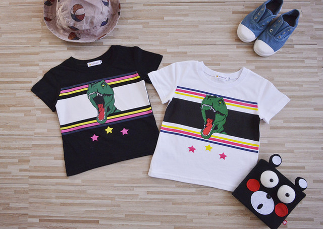 new 2017 family 100% cotton T-shirts dinosaur printed baby boys girls summer fashion Tops cute & casual free shipping