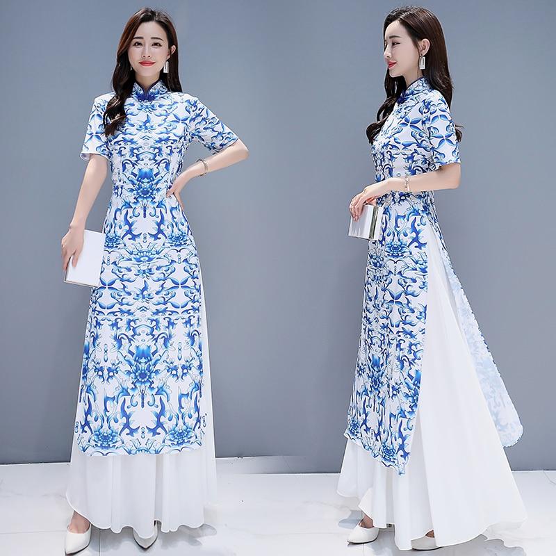 2019 Vietnam Style Elegant Lady Flower Print Oriental Qipao Cheongsam Mandarin Collar Aodai Dress Ao Dai Qi Pao Chinese Dress